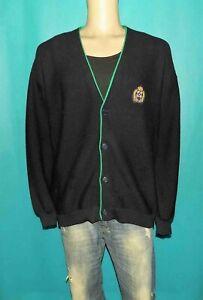 gilet vintage SAINT JAMES homme en laine bleu marine et vert taille 7 ou XXL