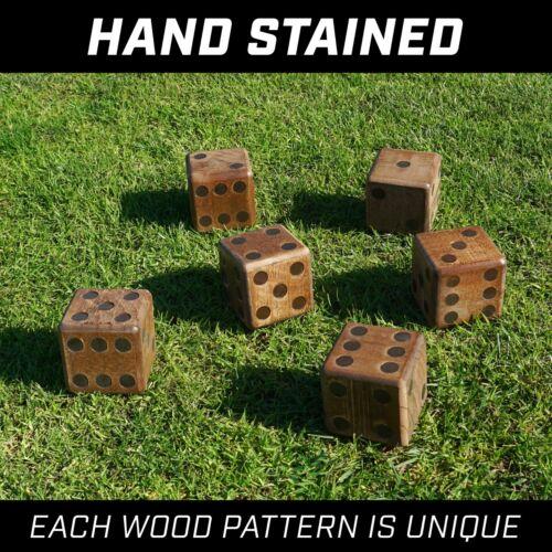 "GoSports 3.5/"" Dark Stain Jumbo Wooden Yard Dice Set with Bonus Scoreboard"