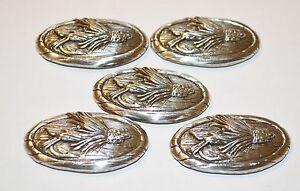 Lot 5 Enmon Fly Fishing Metal Concho Leather Western Screw Back Silver Belt Tack