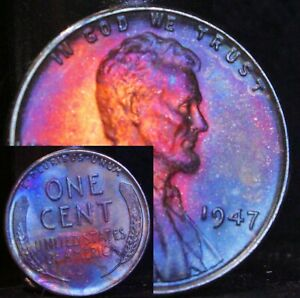 UNCIRCULATED-1947-P-BU-38f-VIBRANT-Rainbow-MONSTER-Toned-Penny-Wheat-Cent