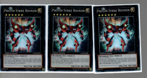 3x Super Rare Photon Strike Bounzer CT09-EN022 3 Card Holo Playset