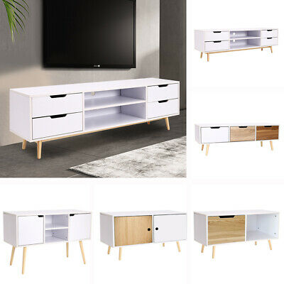 80cm Wide Retro TV Cabinet Stand with Drawer Sideboard Table Solid Wooden Legs