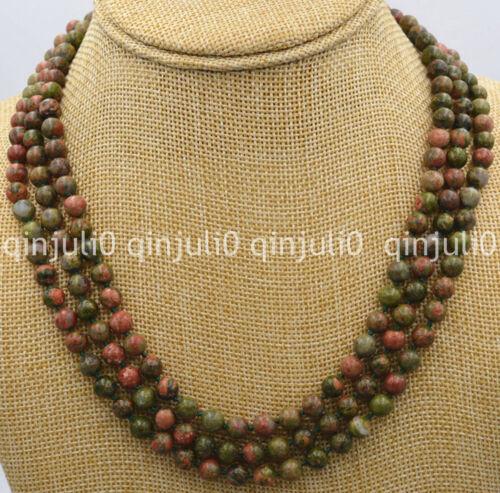 Beautiful 3 row 8mm multicolor unakite Ireland round beads Gems Necklace 17-19/'/'