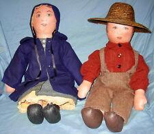 Vintage Folk Art Primitive Painted Cloth Doll- Antique-Type Dress and Hats