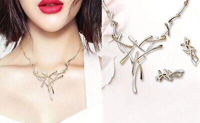 Nachdenklich Luxus Schmuck Set Halskette Ohrringe Emaille Metall Collier Ohrstecker Silber/go