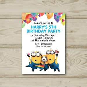 Image Is Loading Minions Despicable Me Disney Children Birthday Party Invitations