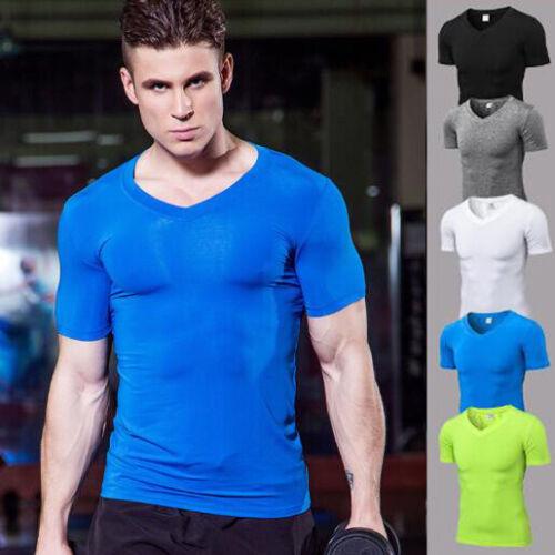 Mens Athletic Fitness T-shirt Compression V Neck Gym Training Tops Short Sleeves