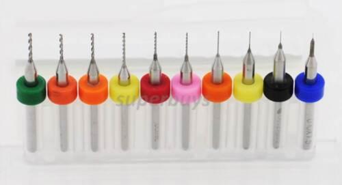 10Pc 0.1-1.0mm HSS Micro Twist Drill Bit Carbide Steel Dremel Rotary Tool PCB
