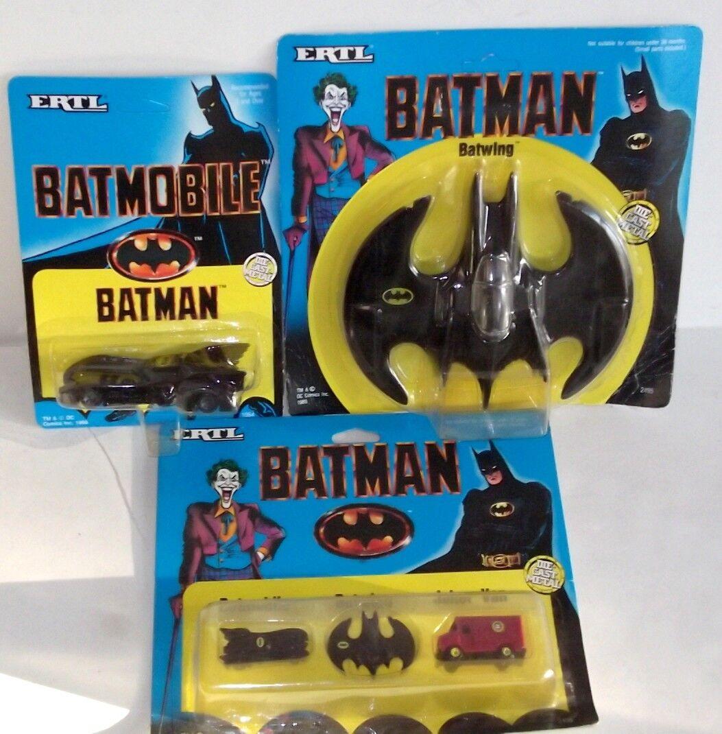 LOT VINTAGE 1989 ERTL Joker BATMAN DC COMICS BATWING DIE-CAST METAL ✰ SEALED MOC