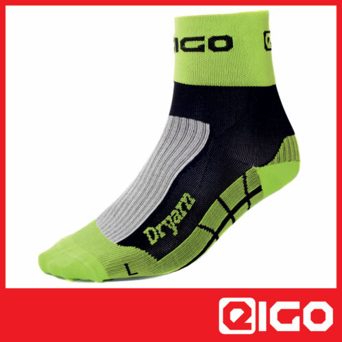 EIGO DRYARN TRIATHLON SOCKS BLACK//GREEN CYCLING RUNNING CYCLE BIKE 1 PAIR