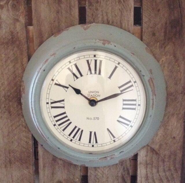 Gisela Graham Distressed Blue Green Metal Wall Clock