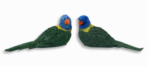 """Hand Painted 6/"""" Green Parrot Lover Statue Figurine Sculpture 36B Set of 2"""
