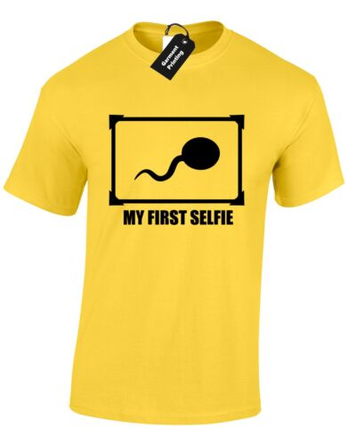 MY FIRST SELFIE MENS T SHIRT ADULT HUMOUR PICTURE CELFIE NOVELTY SLOGAN NEW
