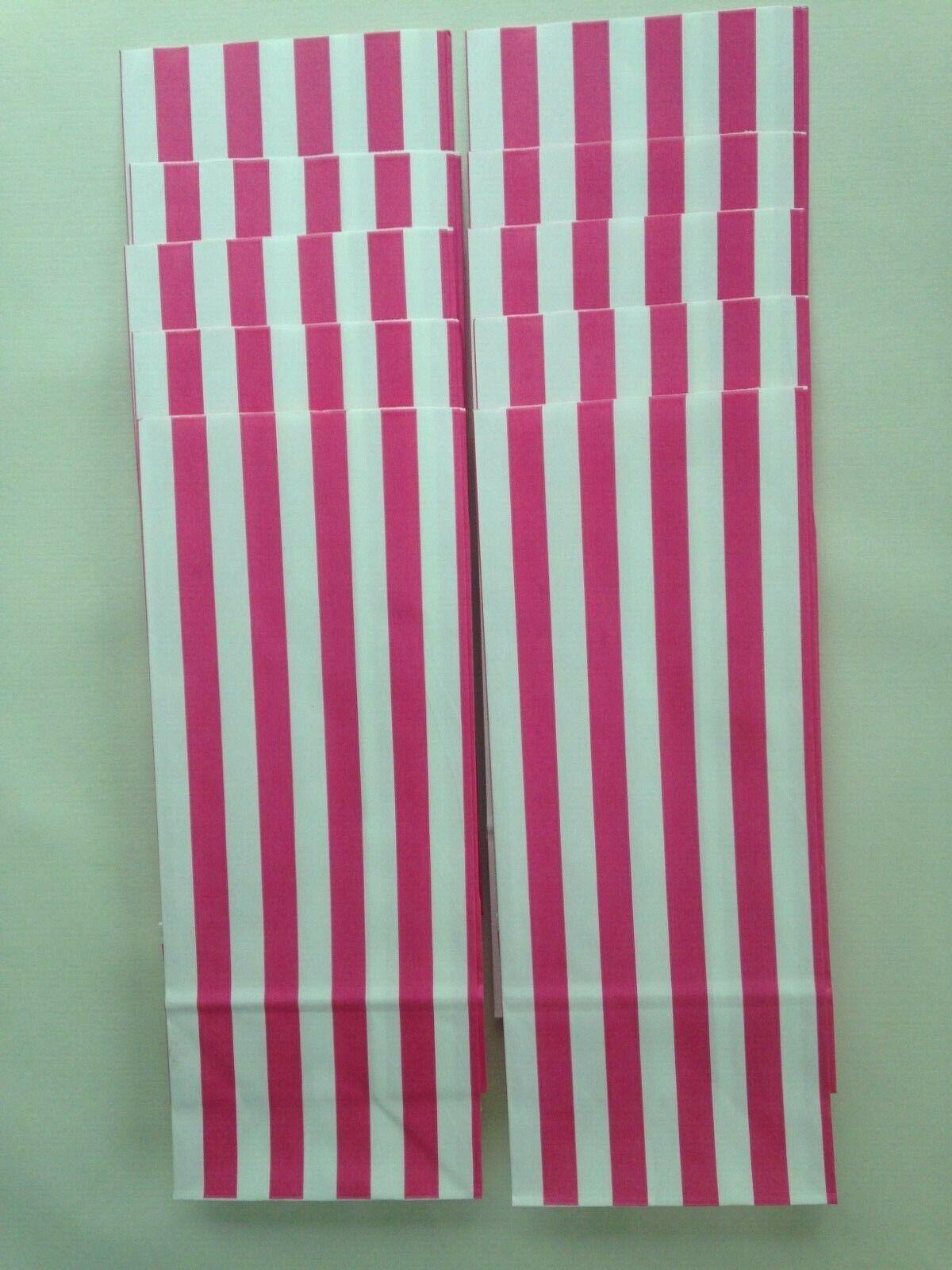 10 Pink /& White Stripe Sweet Popcorn Pick n Mix Paper Bags  26 x 10.5 x 7cm