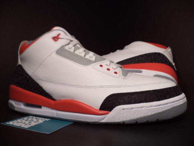 2007 Nike Air Jordan III 3 Retro blanc FIRE rouge CEMENT GREY Noir 136064-161 10 Chaussures de sport pour hommes et femmes