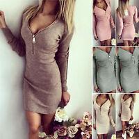 Damen V-Ausschnitt Langarm Mini Kleider Bodycon Winter Party Pullover Abendkleid