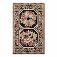3'x5' Stunning Handmade French Needlepoint Aubusson Area Rug Flat Pile Wool 3x5