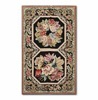 3'x5' Stunning Handmade French Needlepoint Aubusson Area Rug Flat Pile Wool 3x5