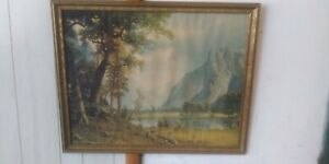 Albert-Bierstadt-Vintage-Litho-Art-Print-Yosemite-Valley-GP-1564-Framed-24-034-x30-034