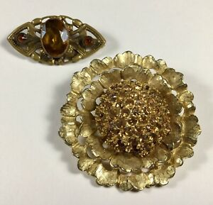 Art-Deco-Brooch-Amber-Colored-Stones-And-Vintage-Pin-Gold-Tone-Flower-2-Brooches