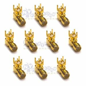10-Pcs-SMA-KWE-Female-Jack-Right-Angle-PCB-Board-Mount-Coaxial-Adapter-Connector