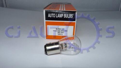 566 Brake Stop Tail Light Off Set 2 Broches Voiture Ampoules 12 V double filament Pack de 10