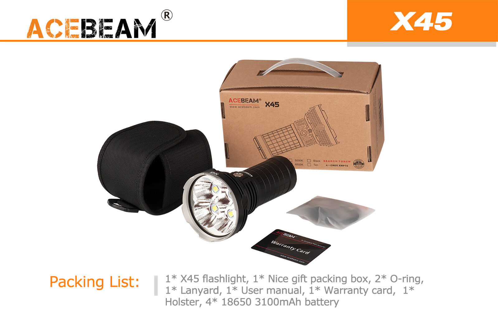Acebeam X45 XHP70 CREE XHP70 X45 LED Flashlight -6500k Cool Weiß -16,500 Lumens 193616