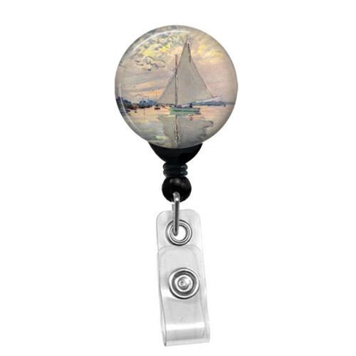 Claude Monet Sailboat Badge Reel Holder Custom ID Name Badge Holder