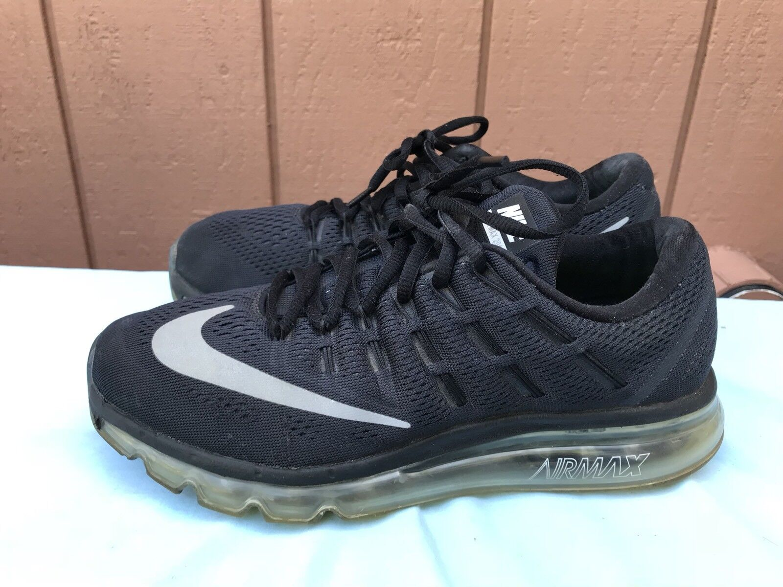 Nike Women's SZ US 9 Air Max 2016 Running 806772 001 Black White Ice Sole A6