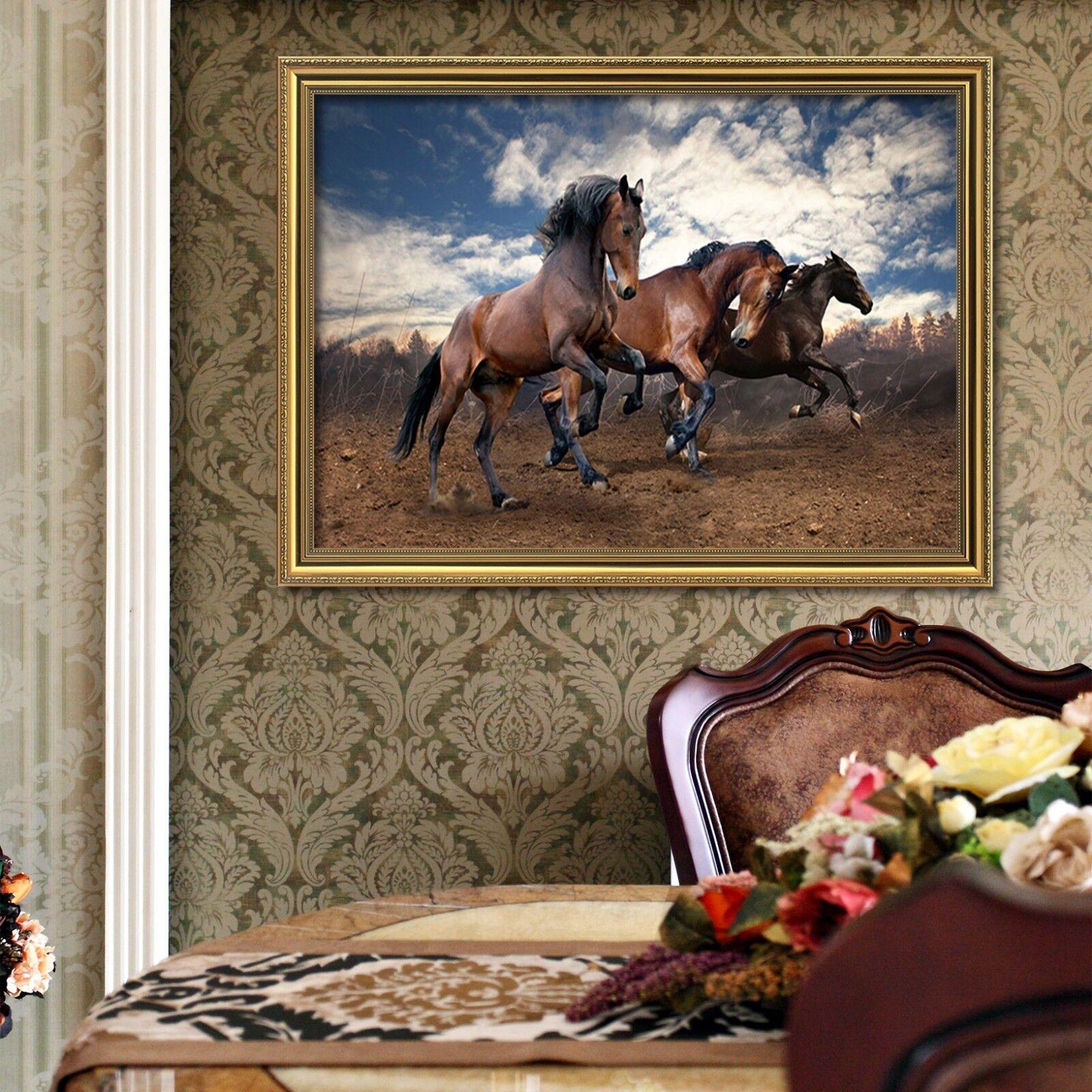 3D Póster Enmarcado tres caballos Marrón 2 Decoración del Hogar Pintura de Impresión Arte AJ Wallpaper