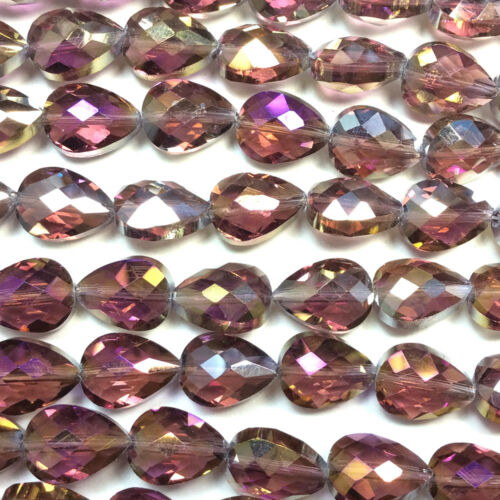 Purple Green Red 14x10mm Faceted Teardrop Chinese Crystal Glass Beads Q1 Strand
