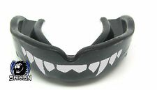 'FANGS' Gum Shield BLACK Mouth Guard Rugby MMA Karate with Carry Case -  Senior
