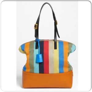 d521da1c0dc Image is loading FENDI-Brown-Leather-and-Multicolored-Striped-Penguin-Zucca-