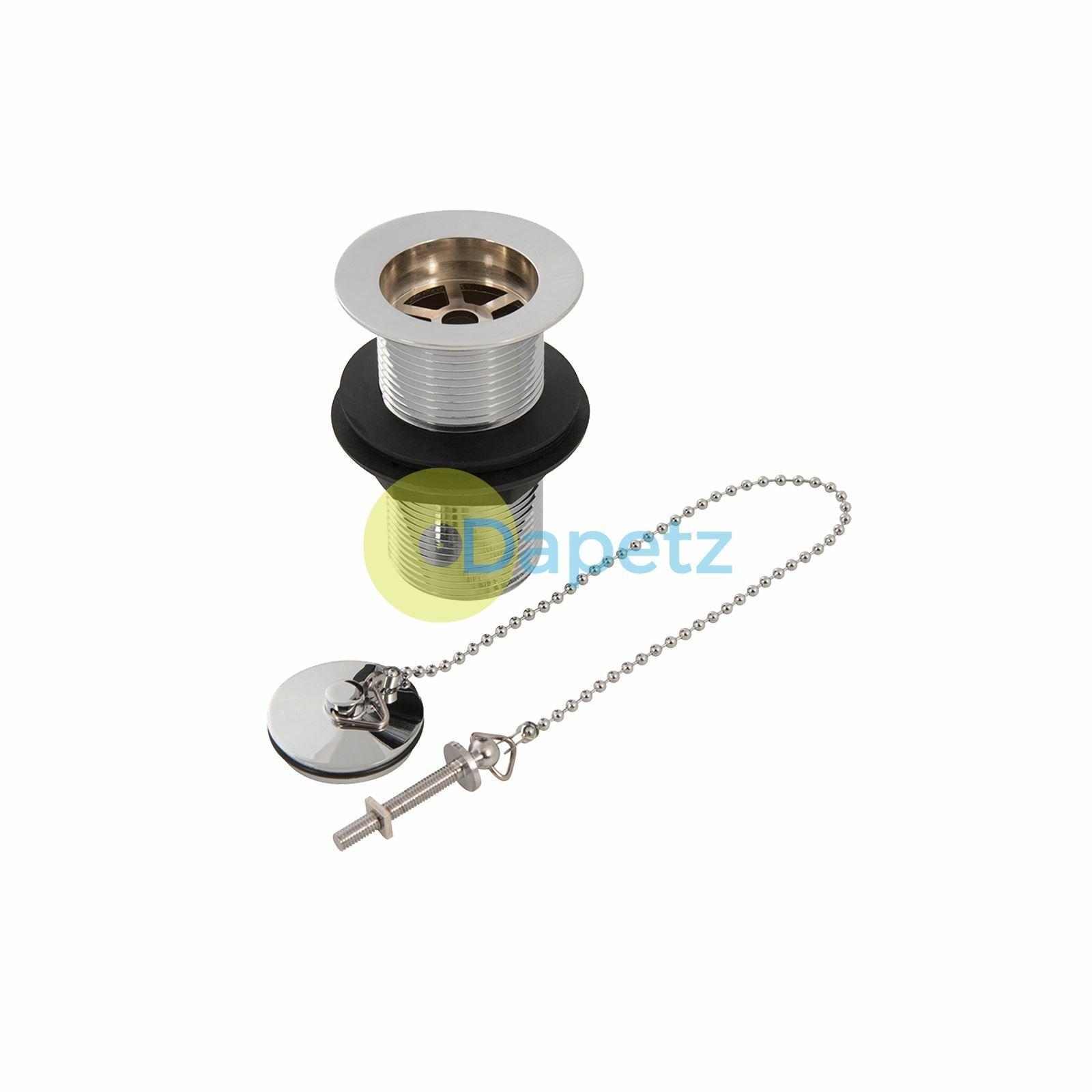 """s l1600 - Baño de Cromo Latón Residuos Lavabo sin Ranuras 1-1/4"""" (32mm) con Plug y Cadena"""