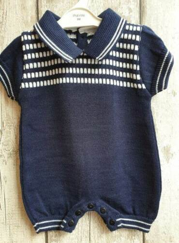 Outfit. Spanish Style Baby Boy Navy Blue and White Knitted Romper