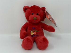 """Russ Skribbles 8"""" Message Bears My Sister is Special Red Beanie Bear NOS #30"""