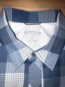 Orvis-Mens-Button-Front-Shirt-Blue-White-Plaid-Short-Sleeves-Flap-Pockets-XXLT