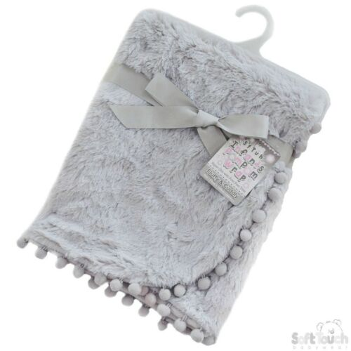 Personalised  delux pompom Baby Blanket Embroidered Boy Girl New Baby Birth Giff