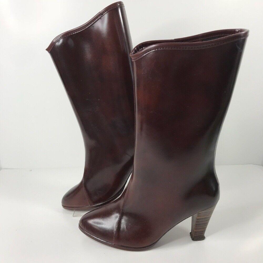 VTG Women's Mid-calf High-Heeled Wellie Rainboots Rubber Boots US Sz 7 Burgundy