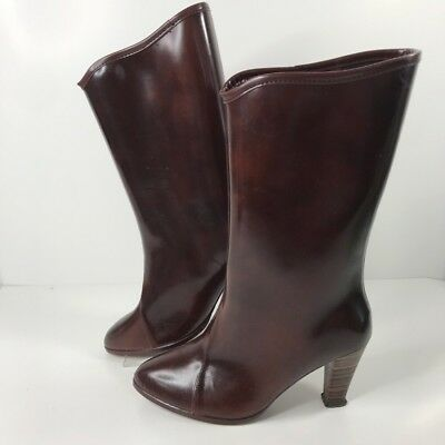 vtg women's midcalf highheeled wellie rainboots rubber