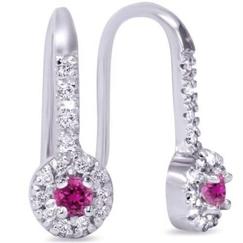 1 3ct Womens Pink Sapphire & Diamond Dangle Earrings 14K White gold