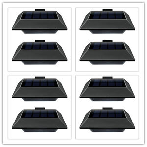 8stk 6leds solarlampe solarleuchte gartenleuchte f r dachrinnen wand treppen ebay. Black Bedroom Furniture Sets. Home Design Ideas