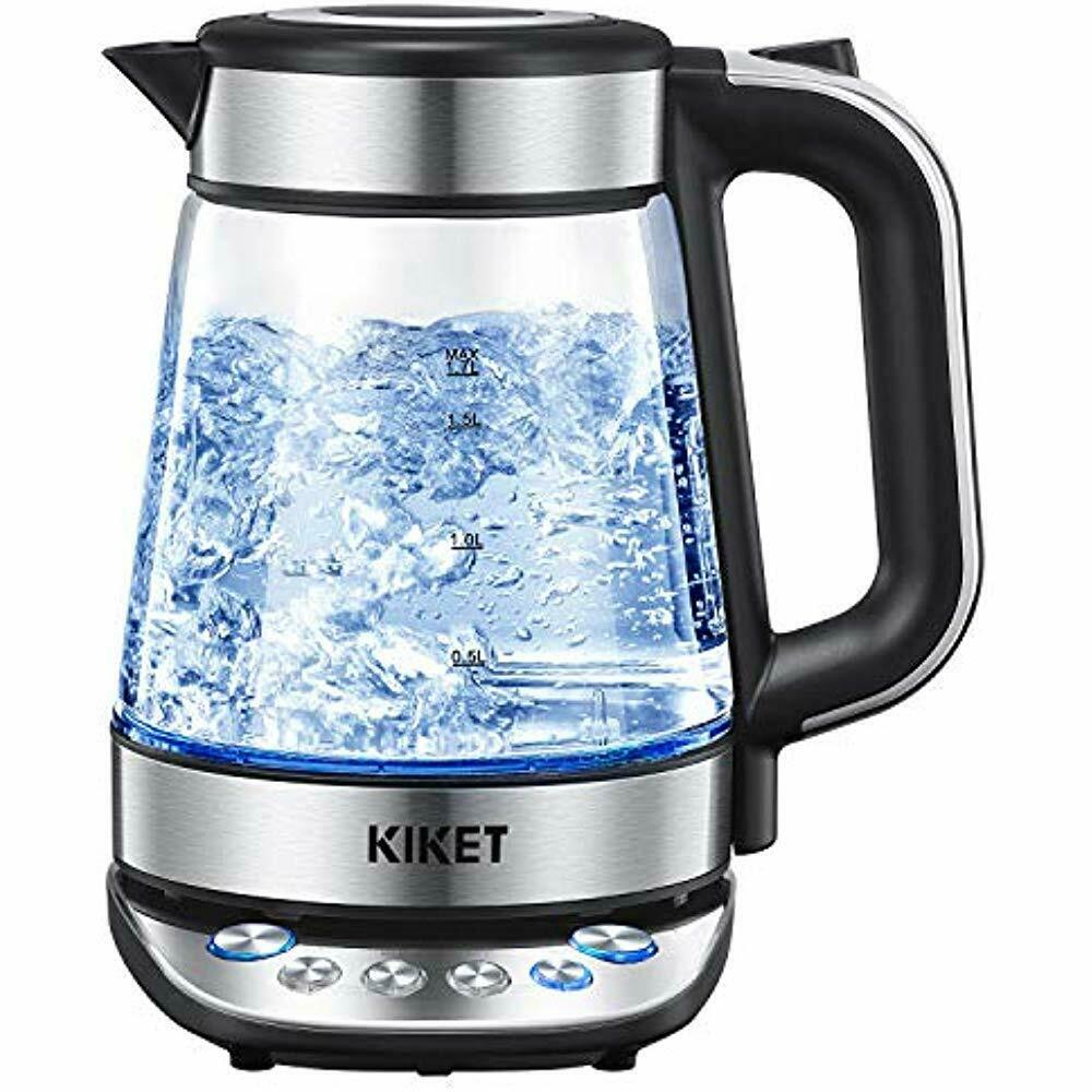 Glass Electric Kettles Temperature Control Tea 1.7L Hot Water LED bluee Light For