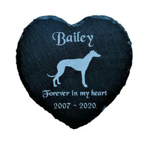 Personalised-Slate-Heart-Pet-Memorial-Grave-Marker-Plaque-Greyhound-Whippet-Dog
