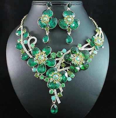 DAISY GREEN AUSTRIAN RHINESTONE CRYSTAL BIB NECKLACE EARRINGS SET GOLD N1706G