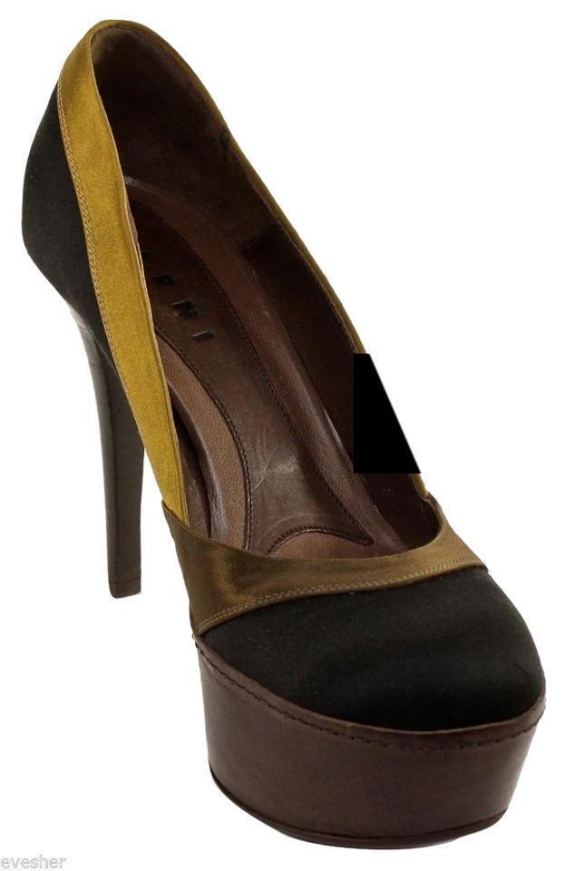 best-seller MARNI Platform Pump Satin Satin Satin Leather SCARPA nero Olive Marrone Heel scarpe Sz 39  risparmia fino al 30-50% di sconto