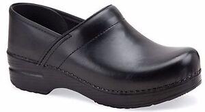 Dansko Womens Professional Clogs Solid Black Cabrio Leather EU 40 US 9.5-10