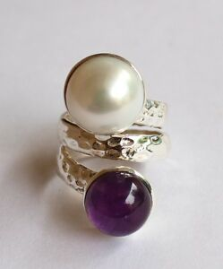 HIGH QUALITY SOLID 925 STERLING SILVER NATURAL AMETHYST REAL PEARL LADIES RING