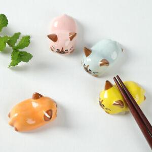 2pcs-Fat-Cat-Chopstick-Rest-Spoon-Fork-Ceramic-Holder-Rack-Decor-Party-Supplies