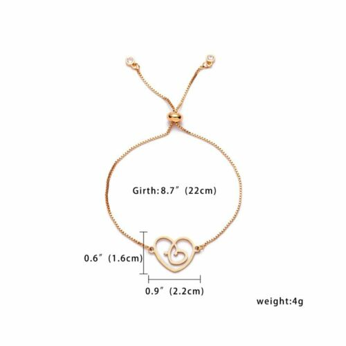 Women Gold Stainless Steel Love Heart Chain Cuff Bracelet Bangle Jewelry Gifts